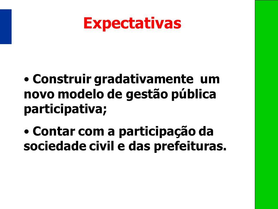 Expectativas Construir gradativamente um novo modelo de gestão pública participativa; Contar com a participação da sociedade civil e das prefeituras.