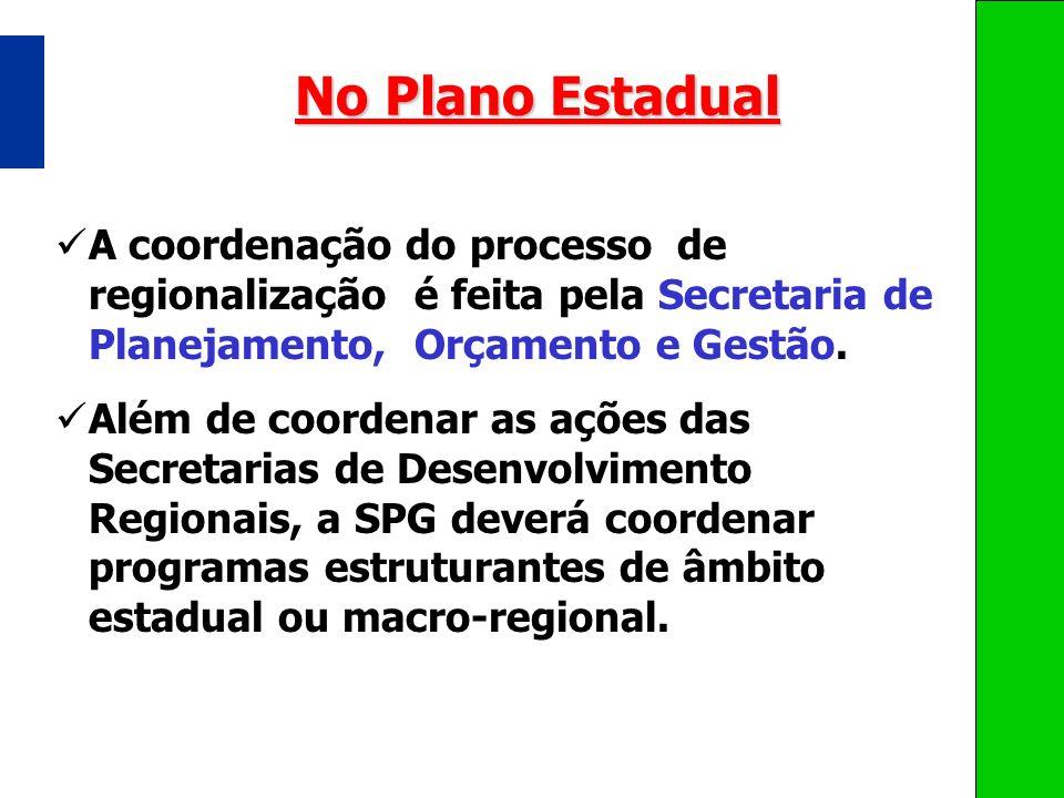 No Plano Estadual A coordenação do processo de regionalização é feita pela Secretaria de Planejamento, Orçamento e Gestão. Além de coordenar as ações