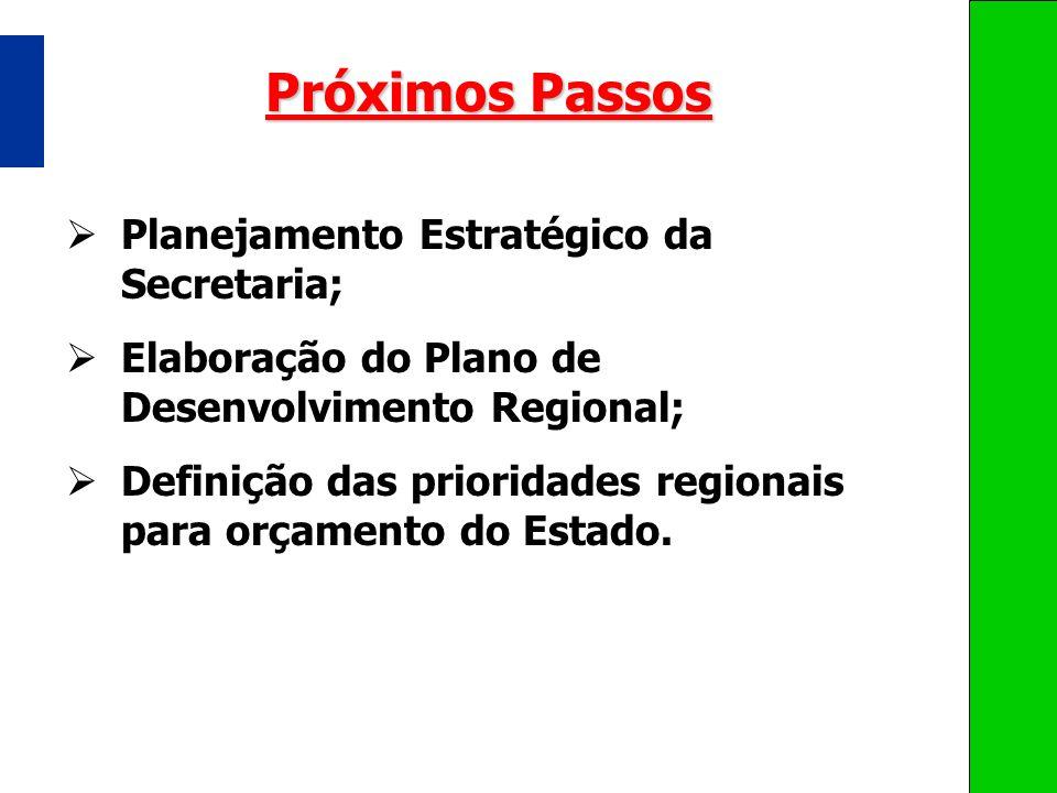 Próximos Passos Planejamento Estratégico da Secretaria; Elaboração do Plano de Desenvolvimento Regional; Definição das prioridades regionais para orça