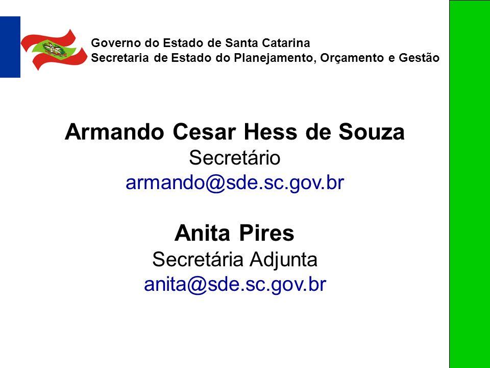 Armando Cesar Hess de Souza Secretário armando@sde.sc.gov.br Anita Pires Secretária Adjunta anita@sde.sc.gov.br Governo do Estado de Santa Catarina Se