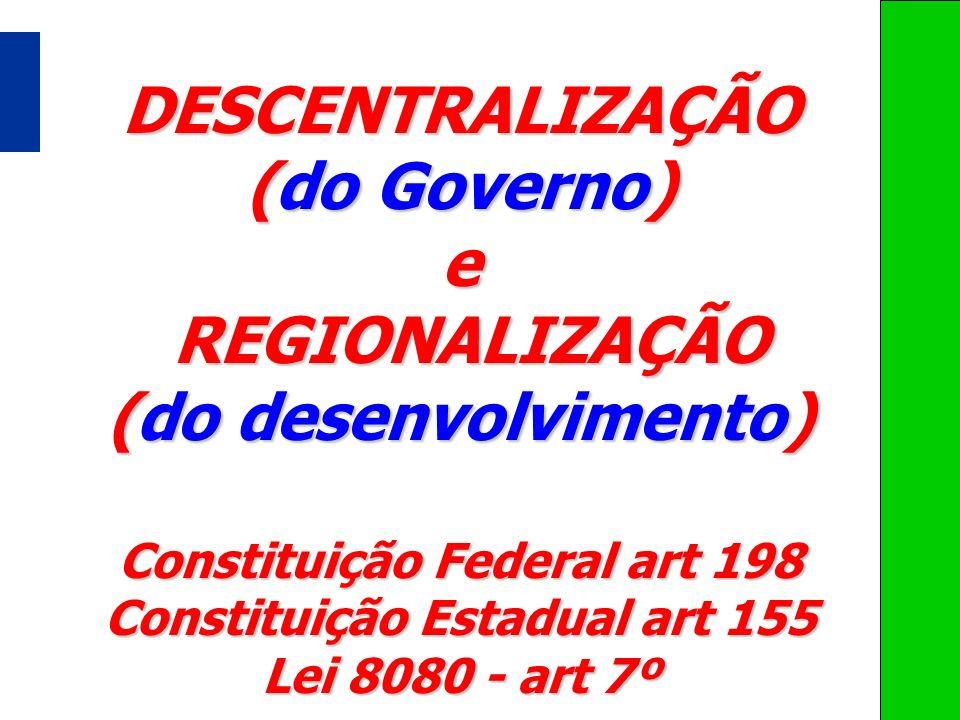 DESCENTRALIZAÇÃO (do Governo) e REGIONALIZAÇÃO REGIONALIZAÇÃO (do desenvolvimento) Constituição Federal art 198 Constituição Estadual art 155 Lei 8080