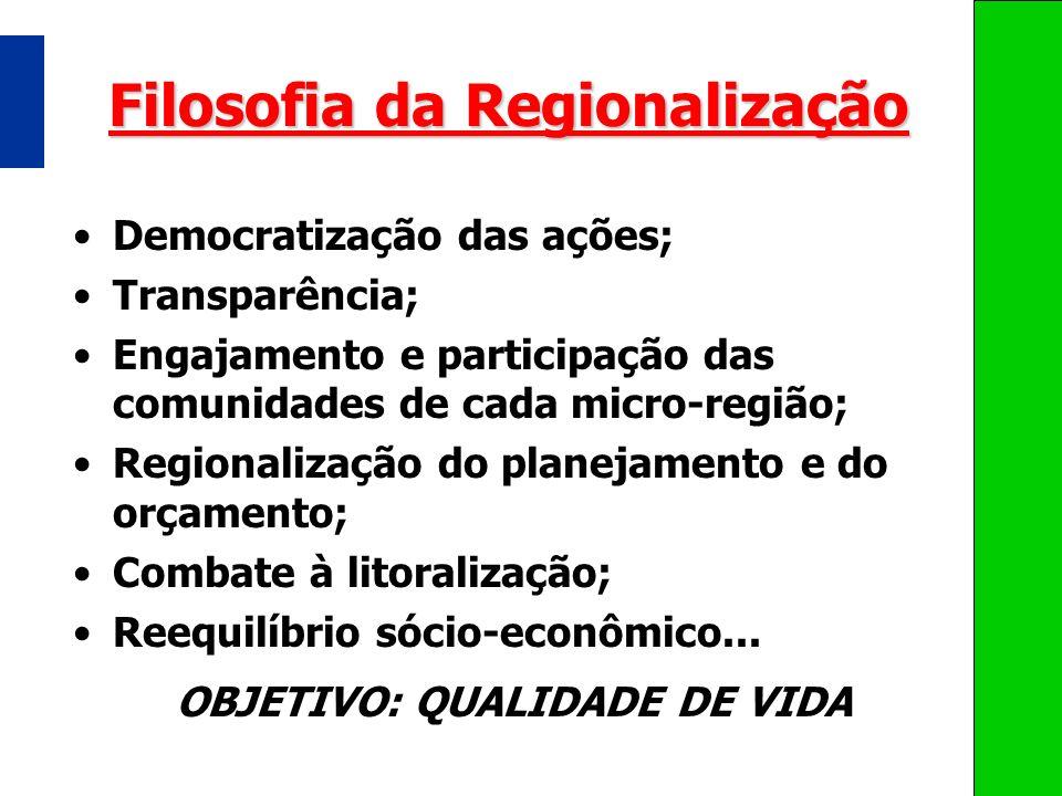 Filosofia da Regionalização Democratização das ações; Transparência; Engajamento e participação das comunidades de cada micro-região; Regionalização d