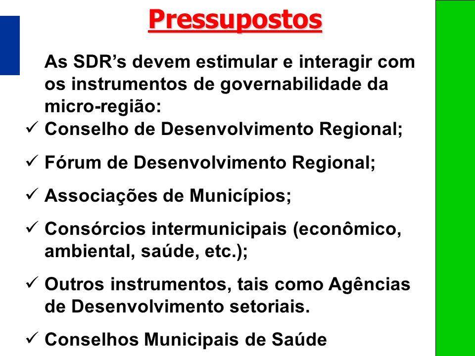 As SDRs devem estimular e interagir com os instrumentos de governabilidade da micro-região:Pressupostos Conselho de Desenvolvimento Regional; Fórum de