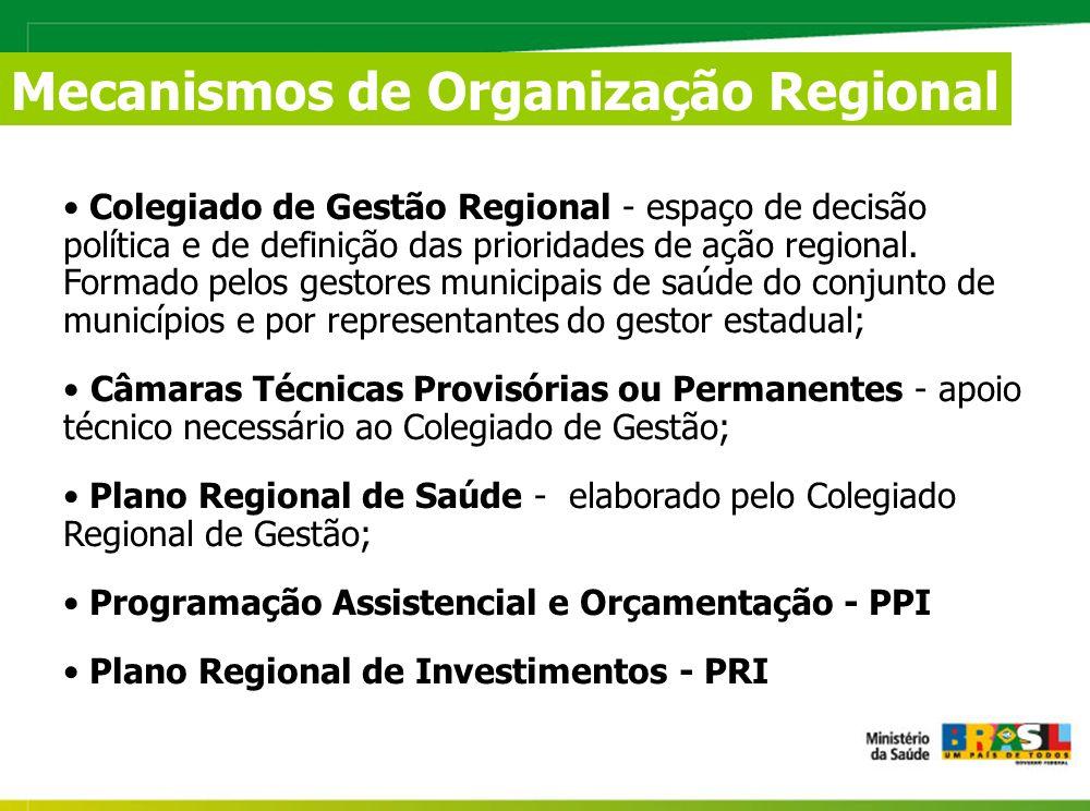 Mecanismos de Organização Regional Colegiado de Gestão Regional - espaço de decisão política e de definição das prioridades de ação regional.