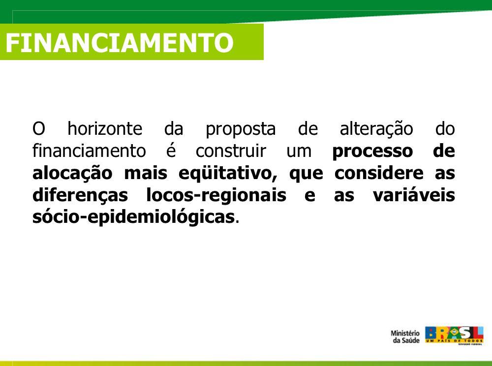 FINANCIAMENTO O horizonte da proposta de alteração do financiamento é construir um processo de alocação mais eqüitativo, que considere as diferenças locos-regionais e as variáveis sócio-epidemiológicas.