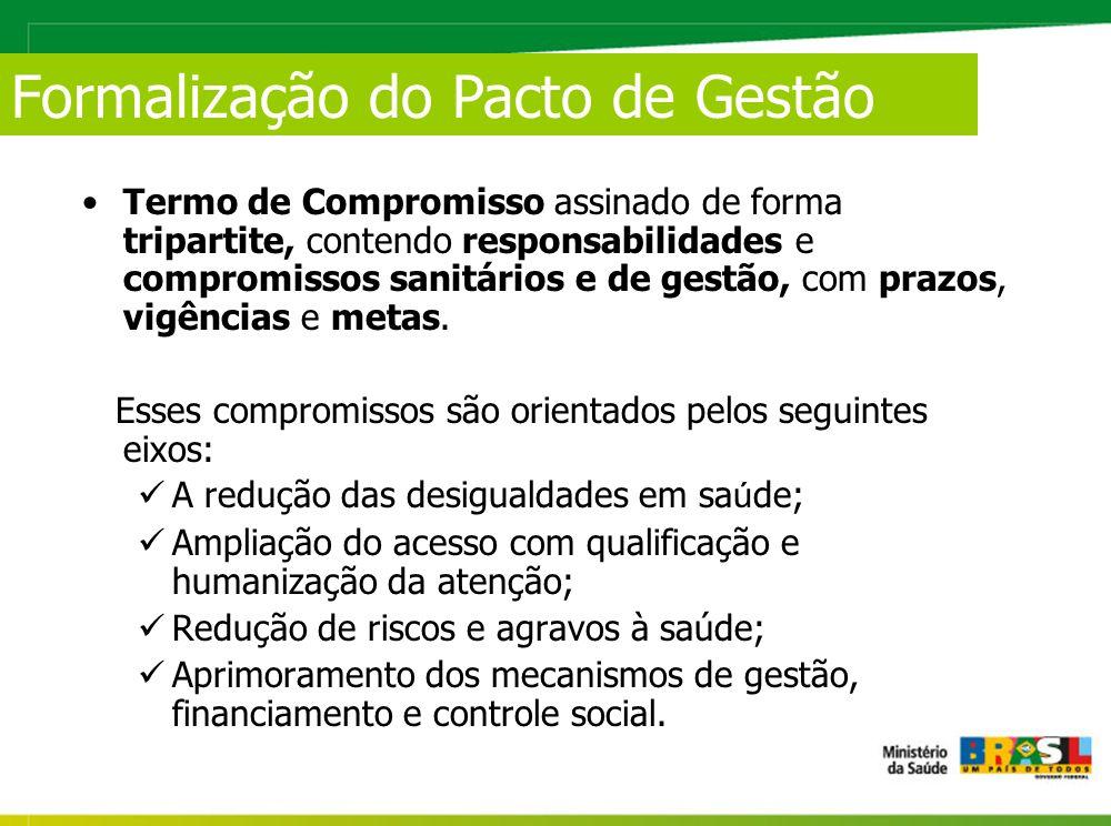 Termo de Compromisso assinado de forma tripartite, contendo responsabilidades e compromissos sanitários e de gestão, com prazos, vigências e metas.