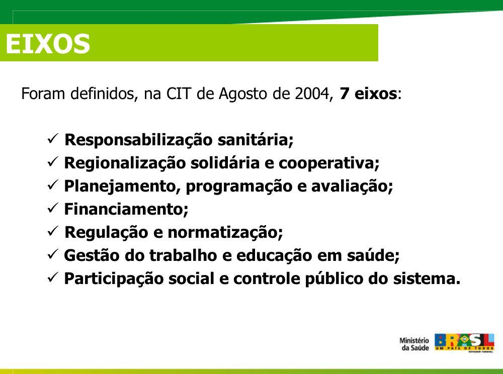 Foram definidos, na CIT de Agosto de 2004, 7 eixos: Responsabilização sanitária; Regionalização solidária e cooperativa; Planejamento, programação e avaliação; Financiamento; Regulação e normatização; Gestão do trabalho e educação em saúde; Participação social e controle público do sistema.