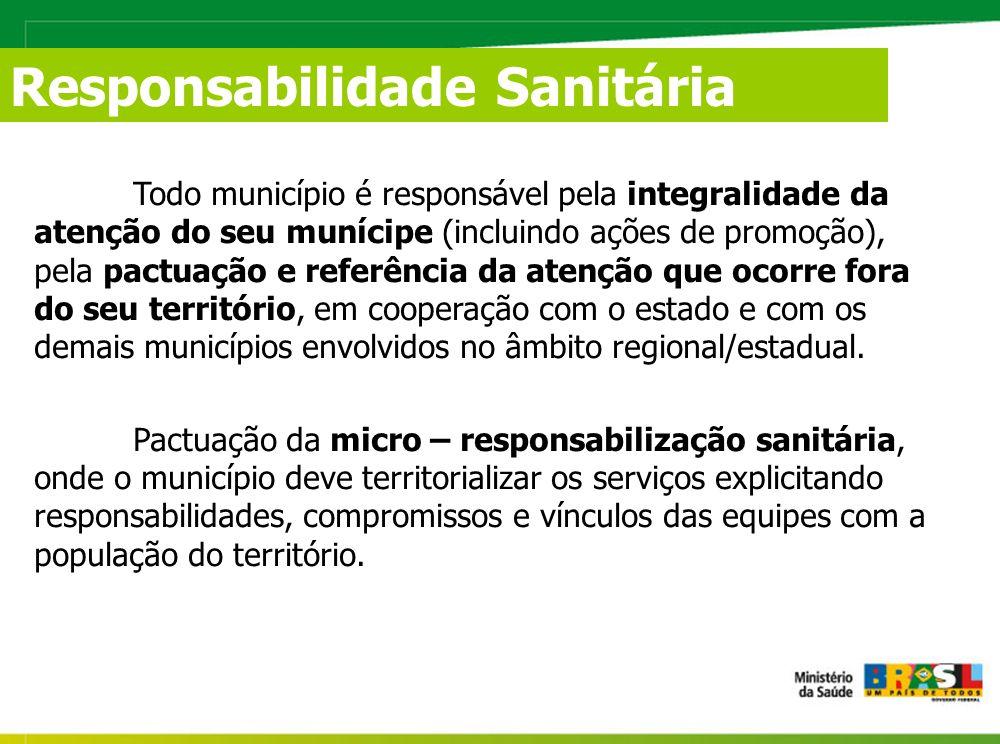 Todo município é responsável pela integralidade da atenção do seu munícipe (incluindo ações de promoção), pela pactuação e referência da atenção que ocorre fora do seu território, em cooperação com o estado e com os demais municípios envolvidos no âmbito regional/estadual.