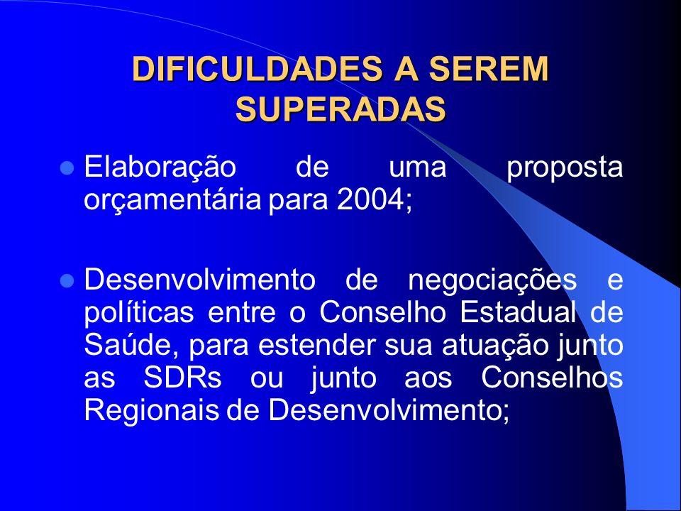 DIFICULDADES A SEREM SUPERADAS Elaboração de uma proposta orçamentária para 2004; Desenvolvimento de negociações e políticas entre o Conselho Estadual