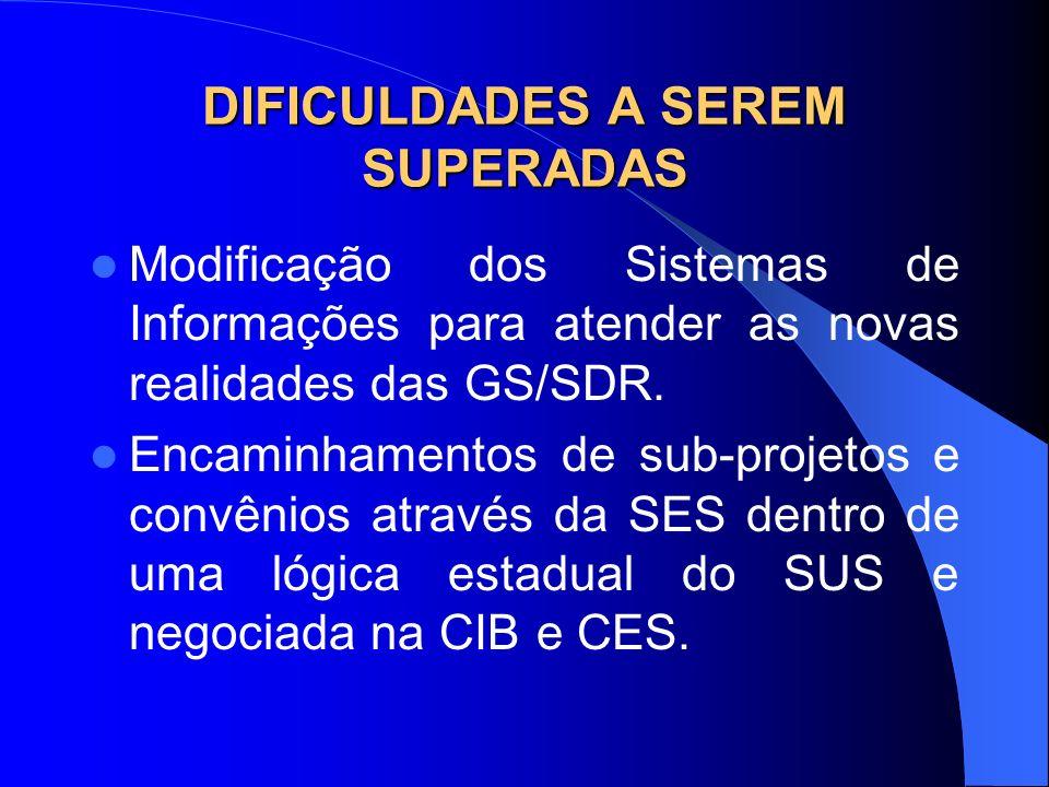 Modificação dos Sistemas de Informações para atender as novas realidades das GS/SDR. Encaminhamentos de sub-projetos e convênios através da SES dentro