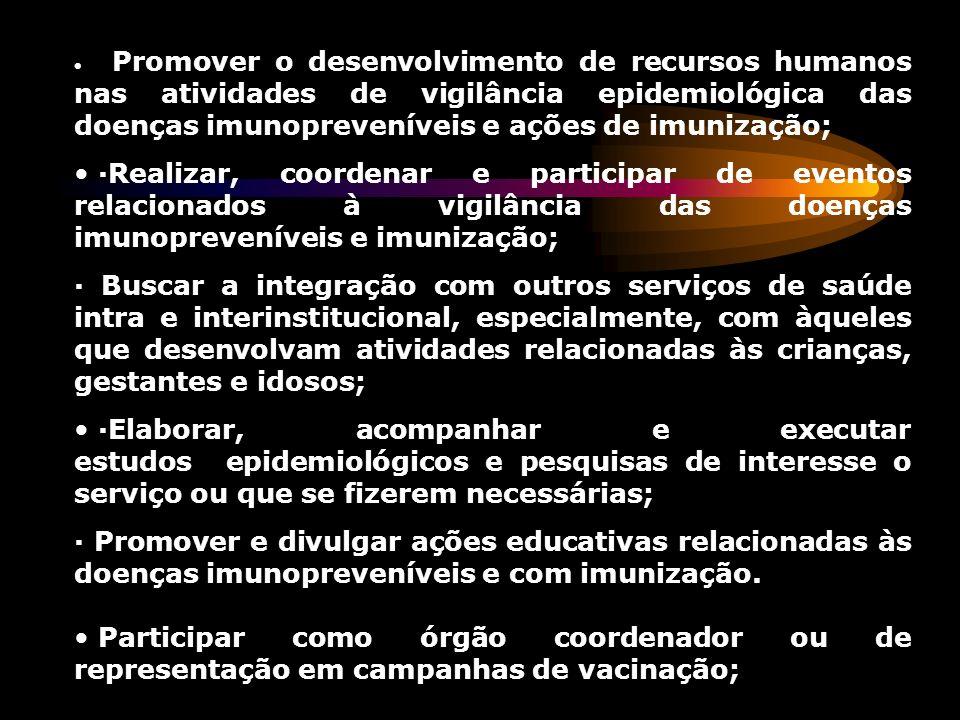 Promover o desenvolvimento de recursos humanos nas atividades de vigilância epidemiológica das doenças imunopreveníveis e ações de imunização; ·Realiz