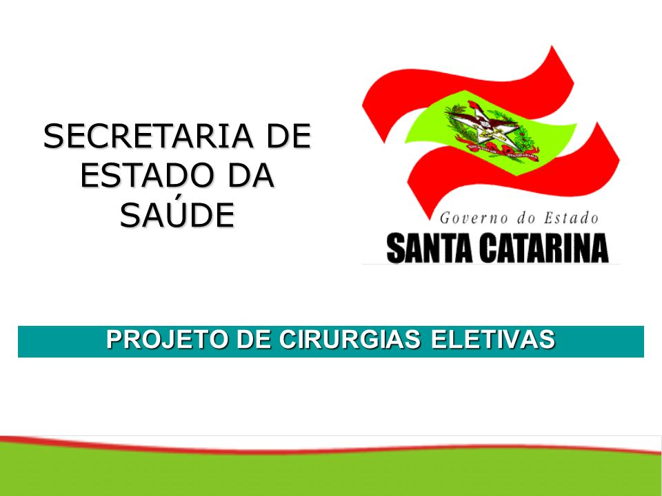 SECRETARIA DE ESTADO DA SAÚDE PROJETO DE CIRURGIAS ELETIVAS
