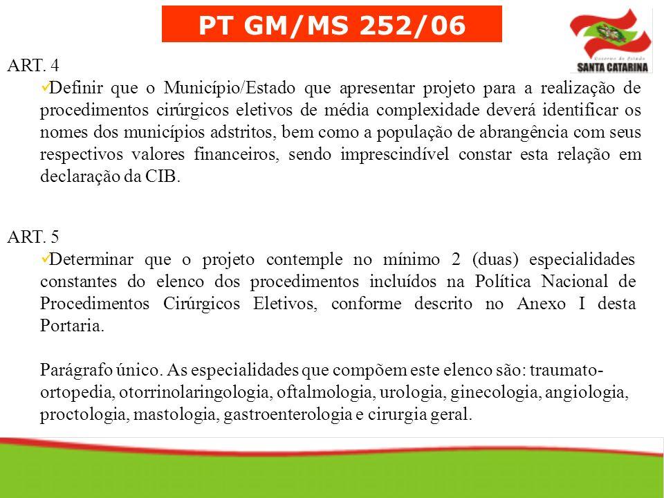PT GM/MS 252/06 ART. 4 Definir que o Município/Estado que apresentar projeto para a realização de procedimentos cirúrgicos eletivos de média complexid