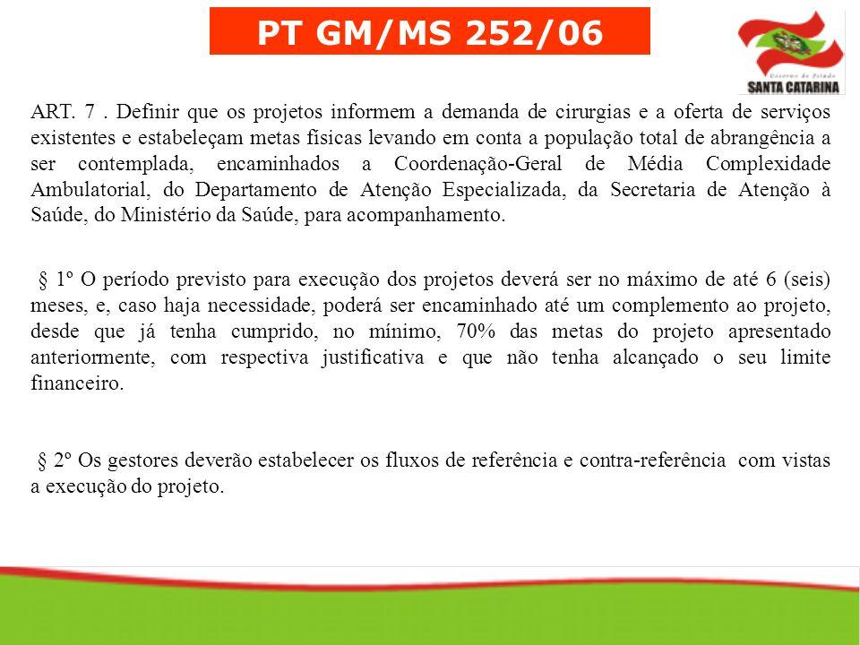 PT GM/MS 252/06 ART. 7. Definir que os projetos informem a demanda de cirurgias e a oferta de serviços existentes e estabeleçam metas físicas levando