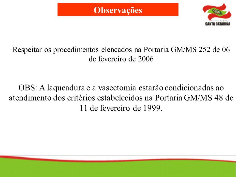 Observações Respeitar os procedimentos elencados na Portaria GM/MS 252 de 06 de fevereiro de 2006 OBS: A laqueadura e a vasectomia estarão condicionad