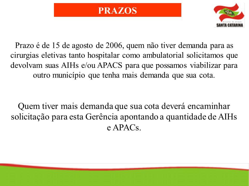 PRAZOS Prazo é de 15 de agosto de 2006, quem não tiver demanda para as cirurgias eletivas tanto hospitalar como ambulatorial solicitamos que devolvam