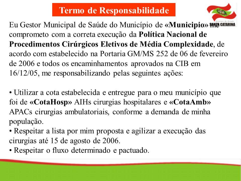 Termo de Responsabilidade Eu Gestor Municipal de Saúde do Município de «Municipio» me comprometo com a correta execução da Política Nacional de Proced