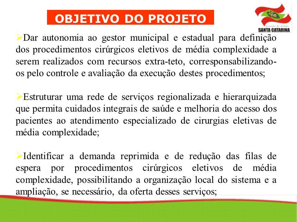 OBJETIVO DO PROJETO Dar autonomia ao gestor municipal e estadual para definição dos procedimentos cirúrgicos eletivos de média complexidade a serem re