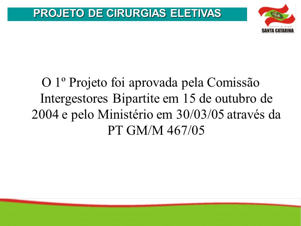 O 1º Projeto foi aprovada pela Comissão Intergestores Bipartite em 15 de outubro de 2004 e pelo Ministério em 30/03/05 através da PT GM/M 467/05 PROJE