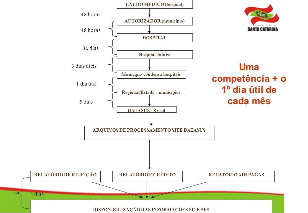 Município condensa hospitais 3 dias LAUDO MÉDICO (hospital) AUTORIZADOR (municipio) HOSPITAL Hospital fatura Regional/Estado - municípios DATASUS - Br
