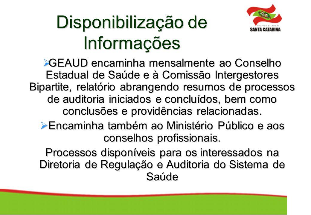 Disponibilização de Informações GEAUD encaminha mensalmente ao Conselho Estadual de Saúde e à Comissão Intergestores Bipartite, relatório abrangendo r