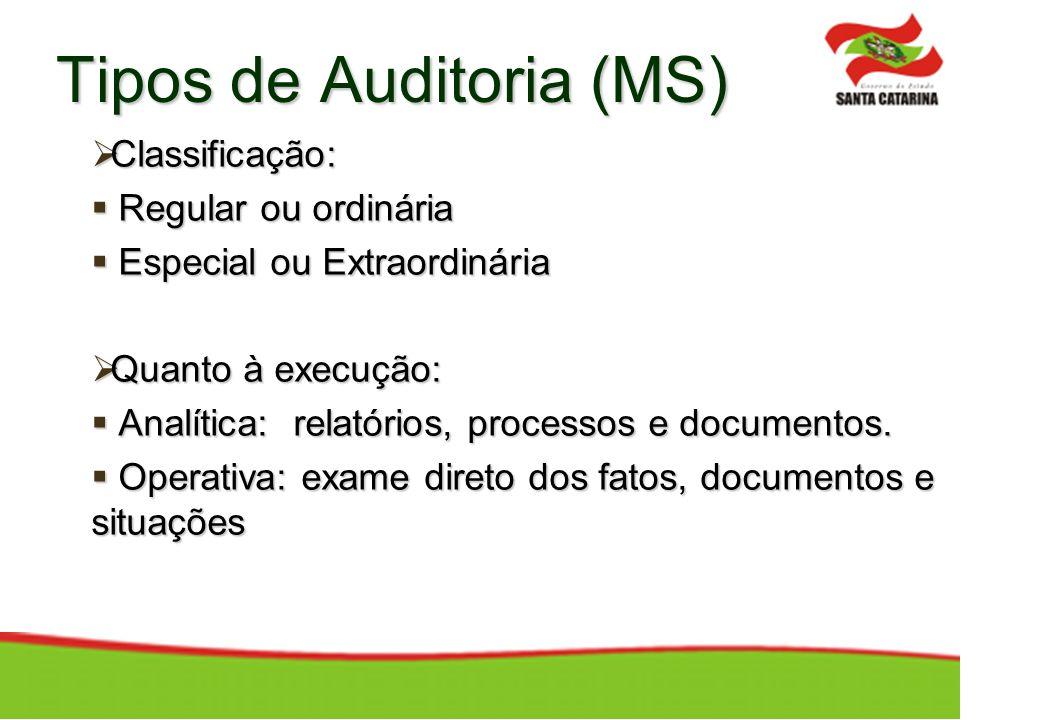 Tipos de Auditoria (MS) Classificação: Classificação: Regular ou ordinária Regular ou ordinária Especial ou Extraordinária Especial ou Extraordinária