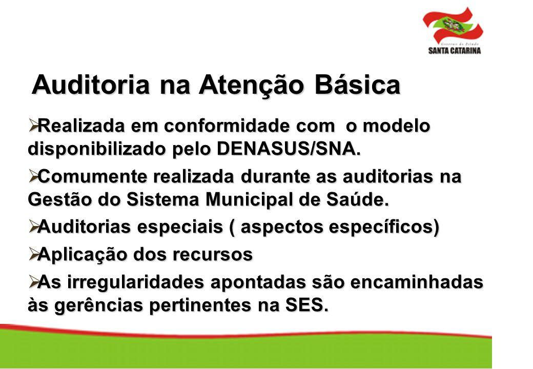 Auditoria na Atenção Básica Realizada em conformidade com o modelo disponibilizado pelo DENASUS/SNA. Realizada em conformidade com o modelo disponibil