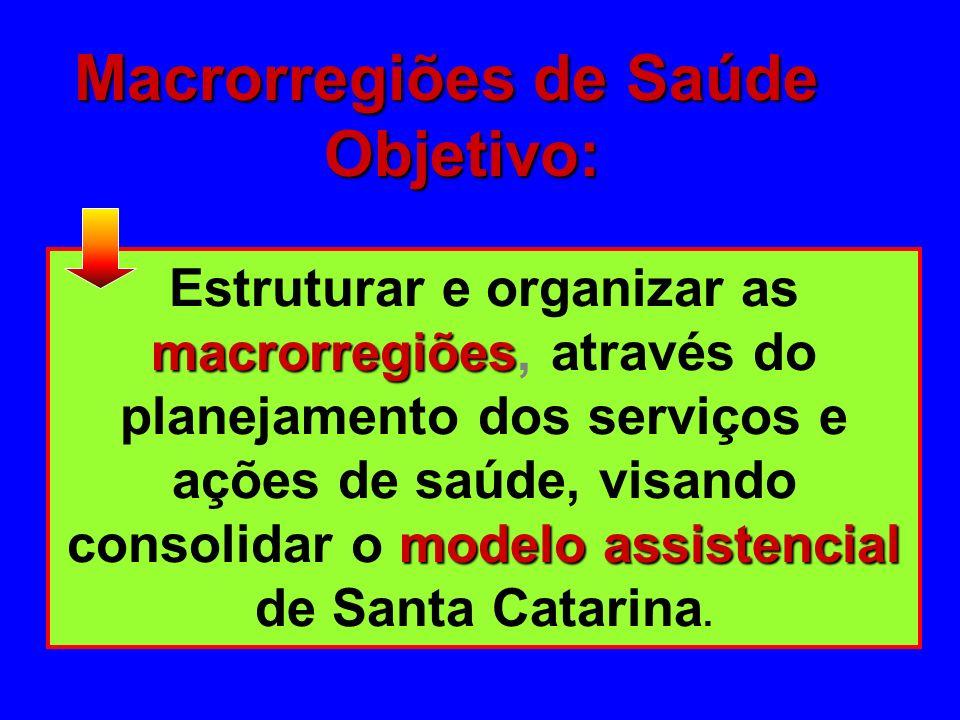 Macrorregiões de Saúde Objetivo: Objetivo: macrorregiões modelo assistencial Estruturar e organizar as macrorregiões, através do planejamento dos serviços e ações de saúde, visando consolidar o modelo assistencial de Santa Catarina.