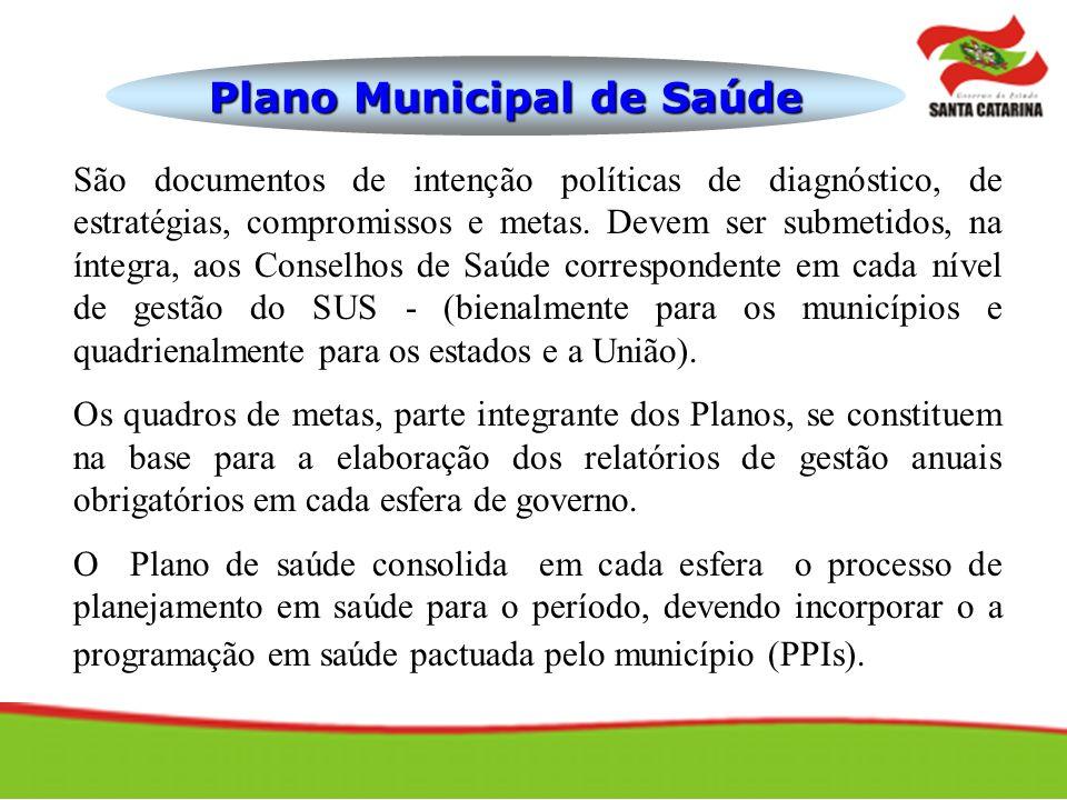 Plano Municipal de Saúde São documentos de intenção políticas de diagnóstico, de estratégias, compromissos e metas. Devem ser submetidos, na íntegra,