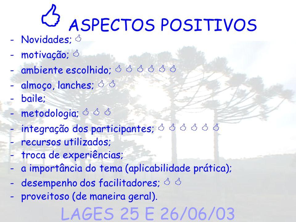 ASPECTOS POSITIVOS -Novidades; -motivação; -ambiente escolhido; -almoço, lanches; -baile; -metodologia; -integração dos participantes; -recursos utili