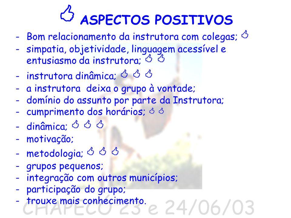 CHAPECÓ 23 e 24/06/03 ASPECTOS POSITIVOS -Bom relacionamento da instrutora com colegas; -simpatia, objetividade, linguagem acessível e entusiasmo da i