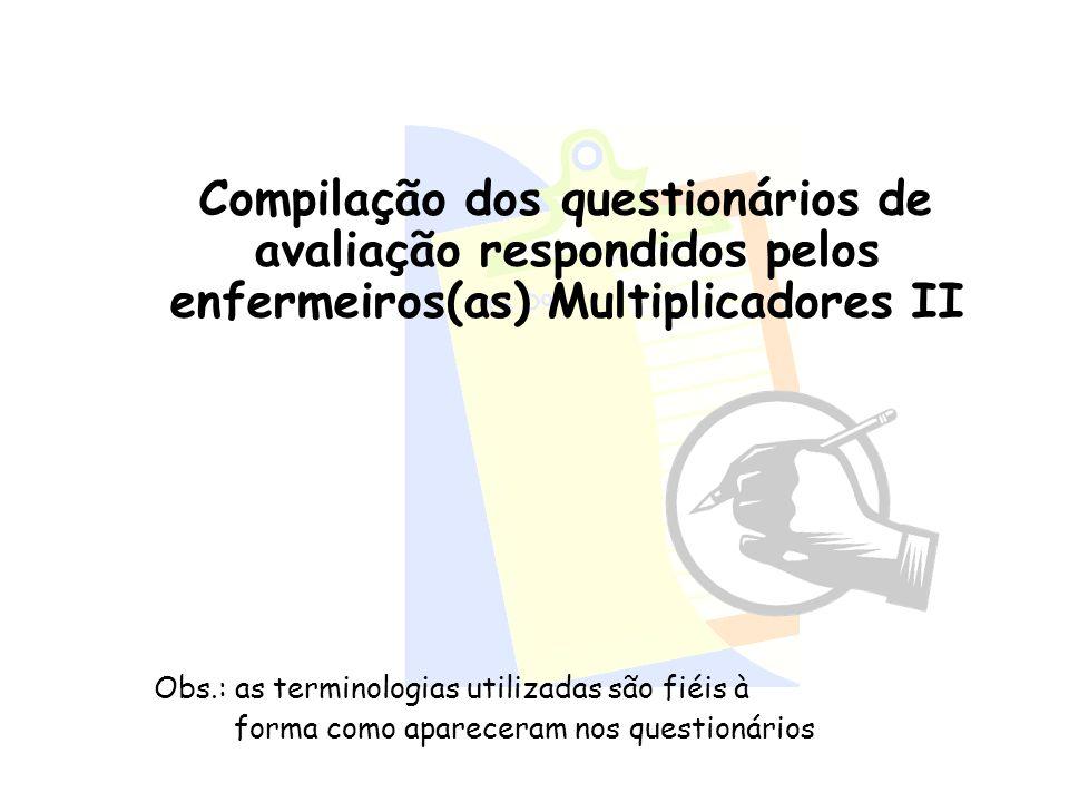 Compilação dos questionários de avaliação respondidos pelos enfermeiros(as) Multiplicadores II Obs.: as terminologias utilizadas são fiéis à forma com