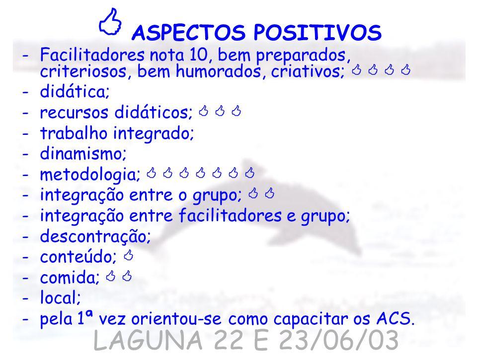 -Facilitadores nota 10, bem preparados, criteriosos, bem humorados, criativos; -didática; -recursos didáticos; -trabalho integrado; -dinamismo; -metod
