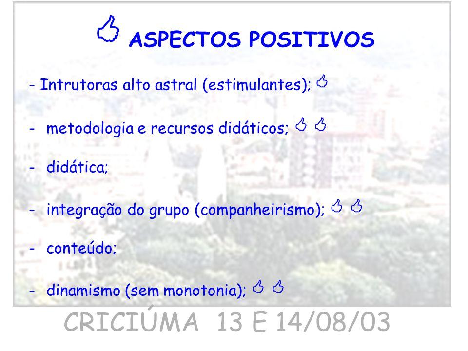 - Intrutoras alto astral (estimulantes); -metodologia e recursos didáticos; -didática; -integração do grupo (companheirismo); -conteúdo; -dinamismo (s