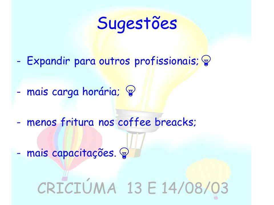 Sugestões -Expandir para outros profissionais; -mais carga horária; -menos fritura nos coffee breacks; -mais capacitações. CRICIÚMA 13 E 14/08/03