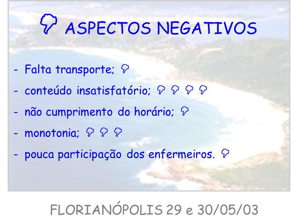 ASPECTOS NEGATIVOS -Falta transporte; -conteúdo insatisfatório; -não cumprimento do horário; -monotonia; -pouca participação dos enfermeiros. FLORIANÓ