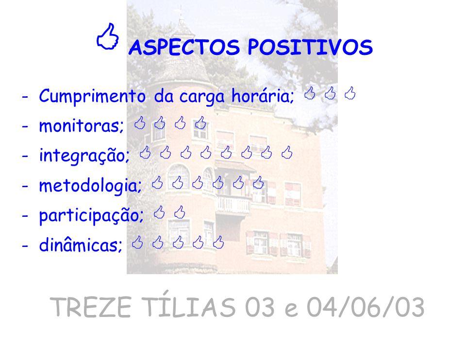 TREZE TÍLIAS 03 e 04/06/03 -Cumprimento da carga horária; -monitoras; -integração; -metodologia; -participação; -dinâmicas; ASPECTOS POSITIVOS