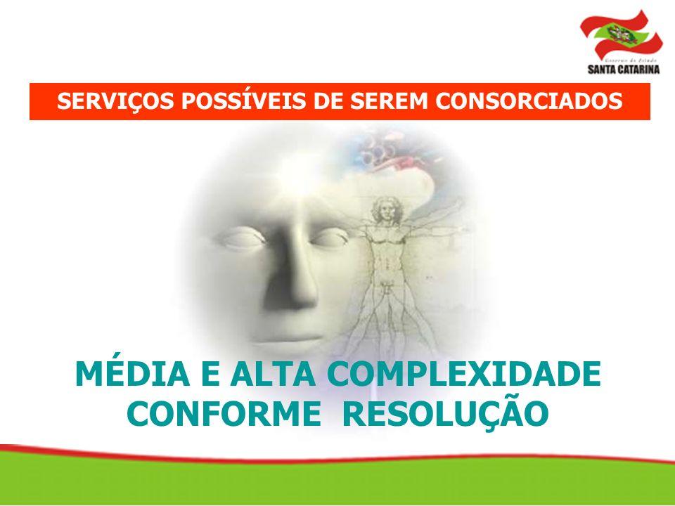 MÉDIA E ALTA COMPLEXIDADE CONFORME RESOLUÇÃO SERVIÇOS POSSÍVEIS DE SEREM CONSORCIADOS