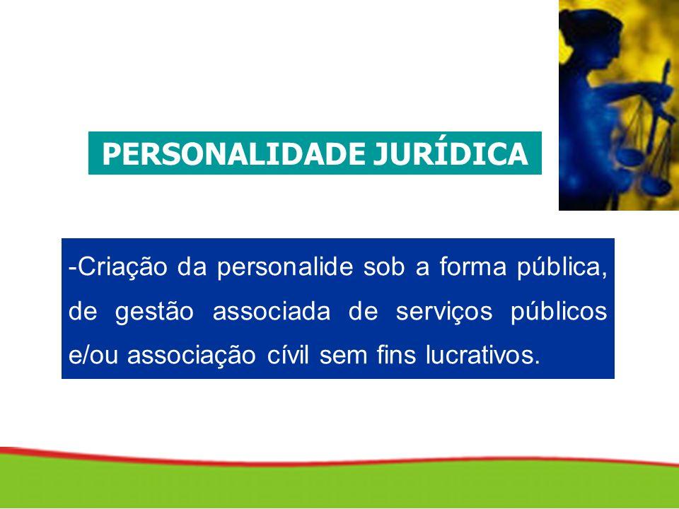 -Criação da personalide sob a forma pública, de gestão associada de serviços públicos e/ou associação cívil sem fins lucrativos.