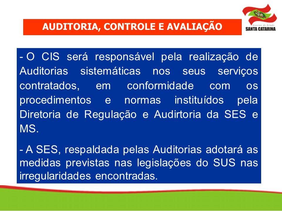- O CIS será responsável pela realização de Auditorias sistemáticas nos seus serviços contratados, em conformidade com os procedimentos e normas instituídos pela Diretoria de Regulação e Audirtoria da SES e MS.