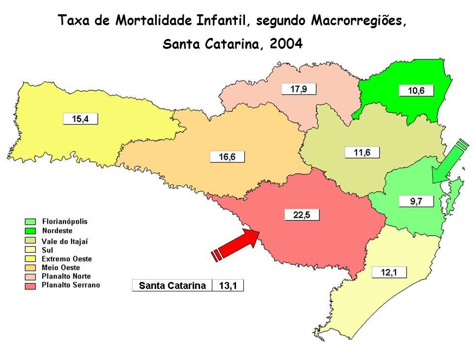 Taxa de Mortalidade Infantil, segundo Macrorregiões, Santa Catarina, 2004