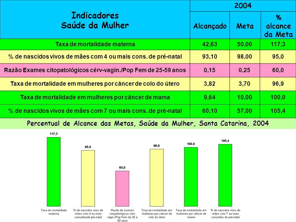 Indicadores Saúde da Mulher 2004 AlcançadoMeta % alcance da Meta Taxa de mortalidade materna51,130,058,7 % de nascidos vivos 4 ou + consultasde pré-na