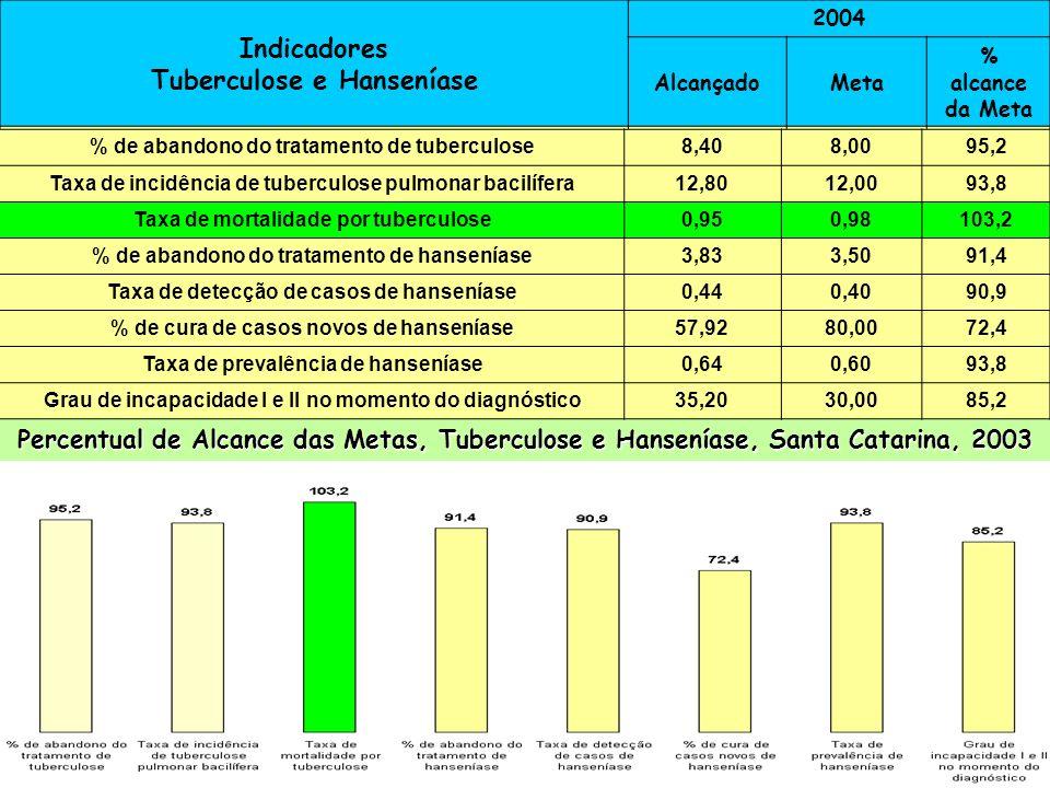 Indicadores Tuberculose e Hanseníase 2004 AlcançadoMeta % alcance da Meta % de abandono do tratamento de tuberculose8,48,297,6 Taxa de incidência de T
