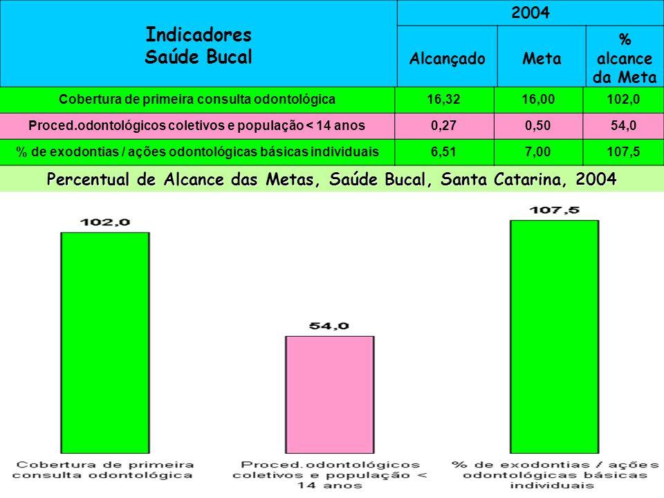 Indicadores Saúde Bucal 2004 AlcançadoMeta % alcance da Meta Cobertura de primeira consulta odontológica16,0 99,9 Proced.odont.coletivos/população < 1