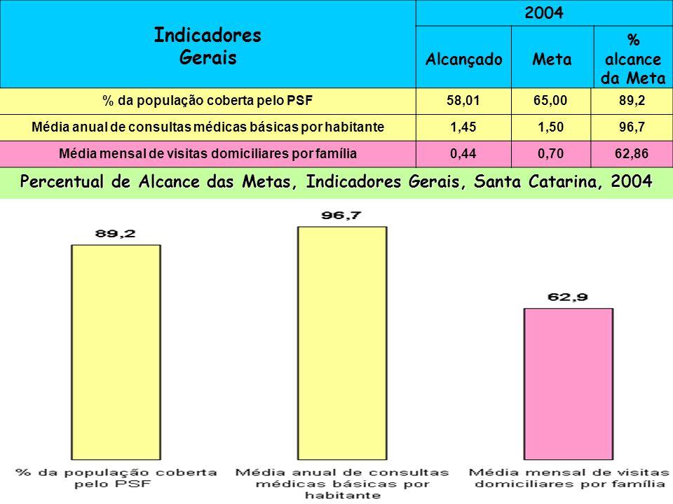 Indicadores Gerais 2004 AlcançadoMeta % alcance da Meta % da população coberta pelo PSF 61,370,087,5 Consultas médicas básicas por habitante 1,5 99,3