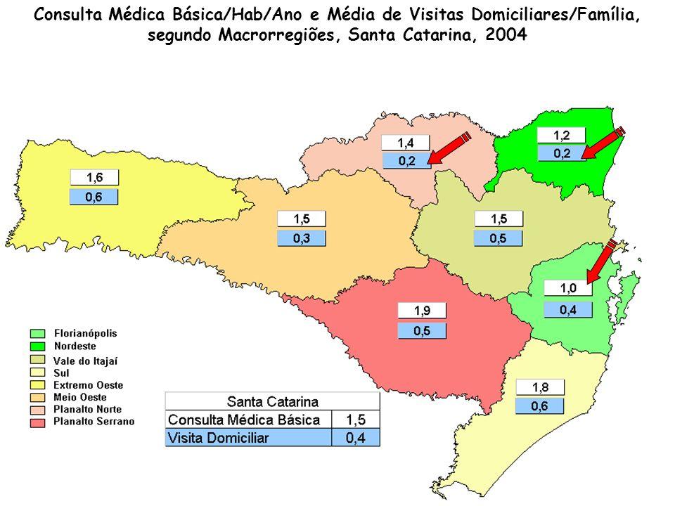 Consulta Médica Básica/Hab/Ano e Média de Visitas Domiciliares/Família, segundo Macrorregiões, Santa Catarina, 2004