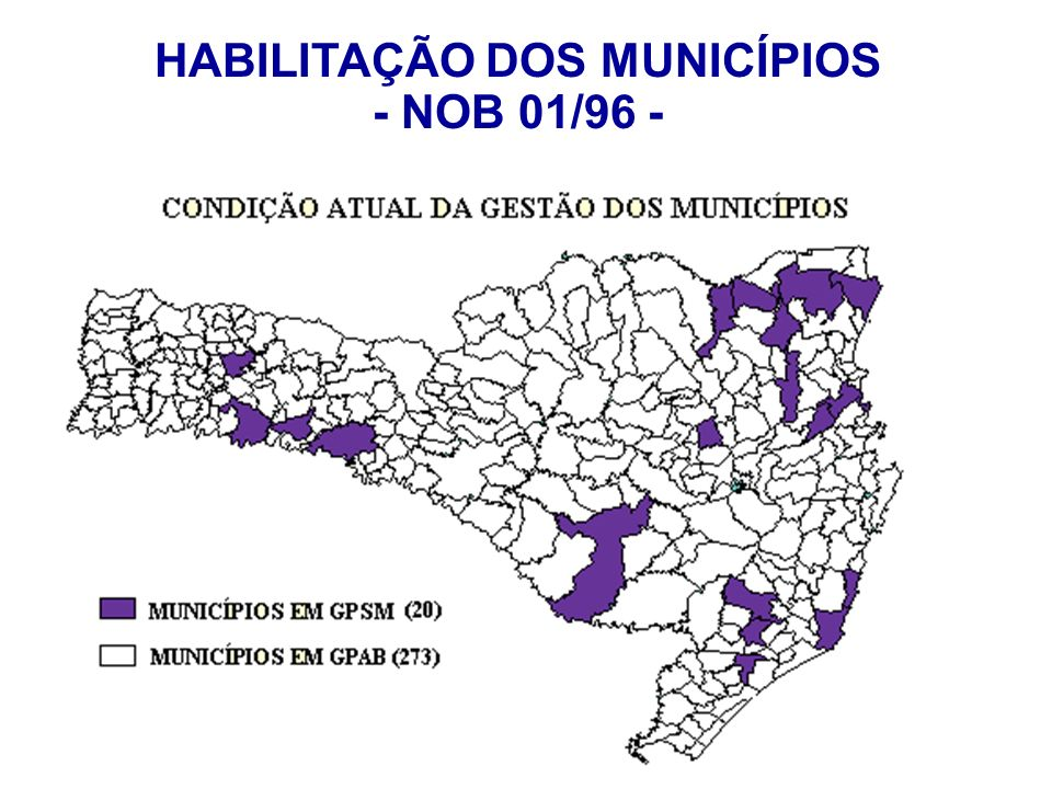 HABILITAÇÃO DOS MUNICÍPIOS - NOB 01/96 -