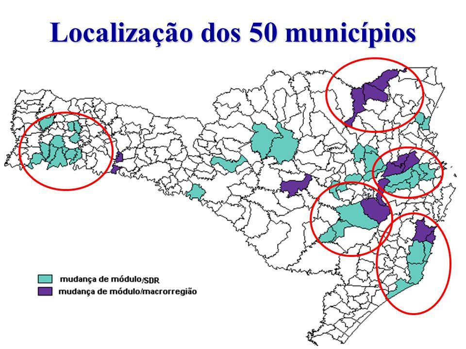 Localização dos 50 municípios