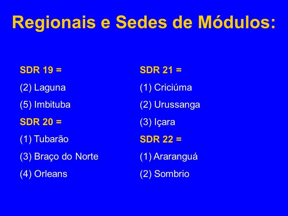 Regionais e Sedes de Módulos: SDR 19 = (2) Laguna (5) Imbituba SDR 20 = (1) Tubarão (3) Braço do Norte (4) Orleans SDR 21 = (1) Criciúma (2) Urussanga