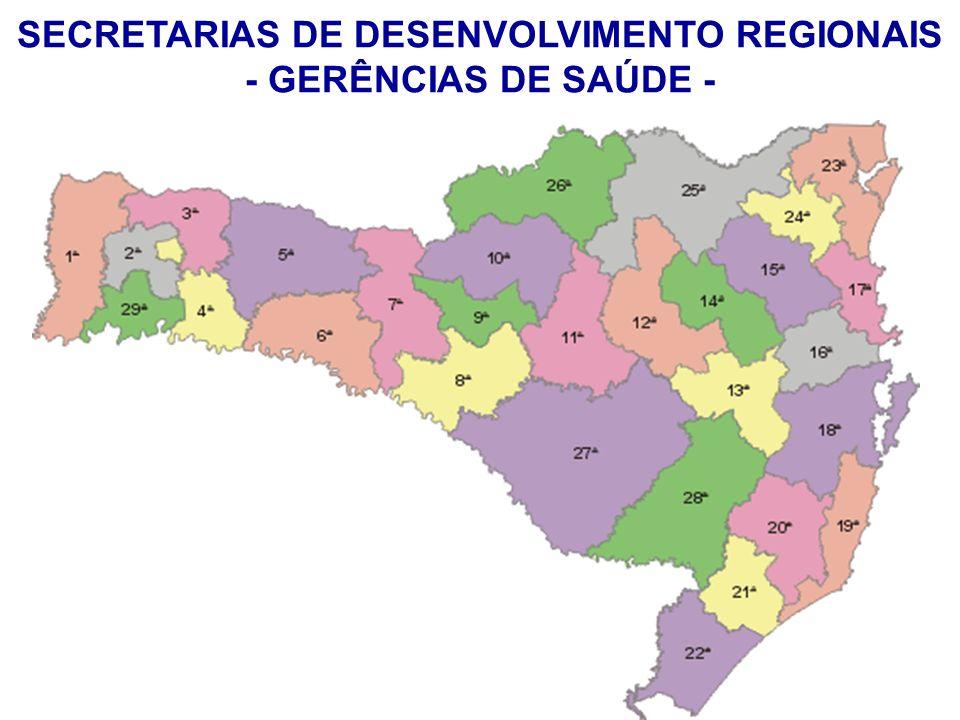 SECRETARIAS DE DESENVOLVIMENTO REGIONAIS - GERÊNCIAS DE SAÚDE -